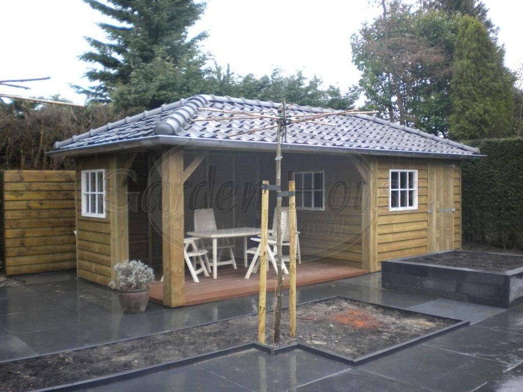 Houten berging met overdekt terras referentie garden house - Overdekt terras in hout ...